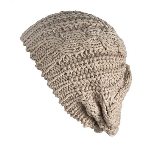 Senchanting Women Winter Warm Ski Knitted Crochet Baggy Skullies Cap Beret  Hat 49ab1693037