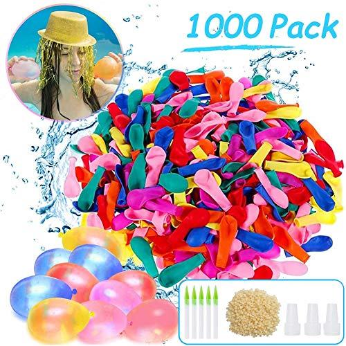 Sunshine smile 1000 Stück Wasserbomben,Wasserbomben Luftballons,Wasserballons Schneller,Wasserballons Bunt Gemischt,Wasserschlacht Luftballons,Wasserballons Bomben,Wasserballon Spielzeug für Kinder