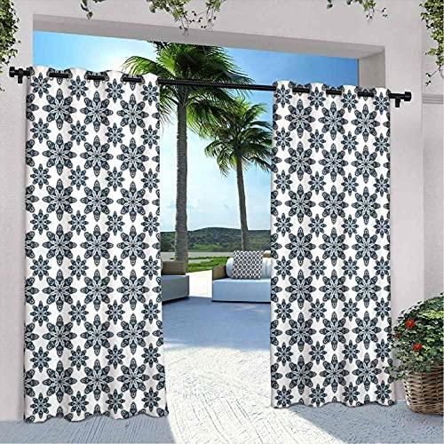 Cortinas geométricas impermeables gazebo, arreglo floral patrón simétrico color suave cerámica estilo diseño naturaleza, para granja cabaña gazebo pasillo terraza, W108 x L96 pulgadas blanco índigo