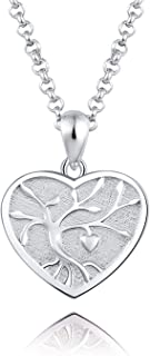 ACJFA Sterling Silver Tree of Life Memorial Jewelry Gift Love Forever in My Heart Cremation Urn Pendant Necklace for Ashes