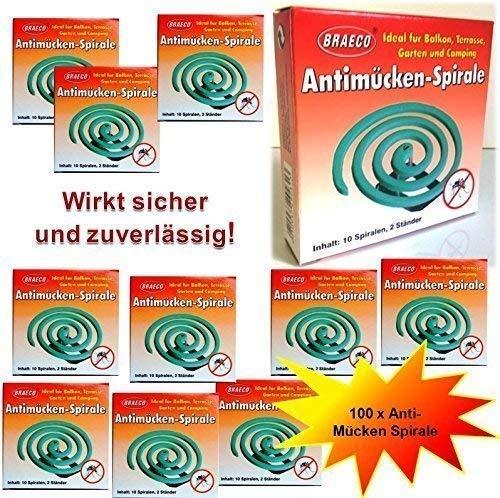 100 Stück Insekten Spirale Mückenspirale Moskitospirale Insektenspirale