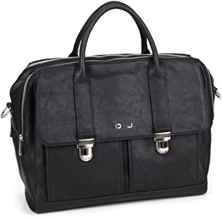 David Jones Noir Sac /à Dos Homme en Nylon Simili Cuir PU Sac de Ville El/égant Morderne Chic Sac Ordinateur Portable 13 Pouces Travail Business Voyage Affaire Cours Scolaire Multifonction
