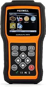 Foxwell NT414 OBD2 OBD Scan Tool Automotive Code Reader Car Scanner Vehicle Diagnostics Tester for Engine Transmission  ABS  Airbag EPB and Oil Service Reset Black Orange