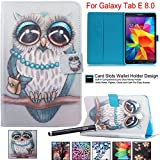 Galaxy Tab E 8.0 inch Case - Newshine Colorful Flip PU Leather Stand Cover with Card Holder for Samsung Galaxy Tab E 8.0'' Tablet SM-T377/T375, Blue&Gray Owl