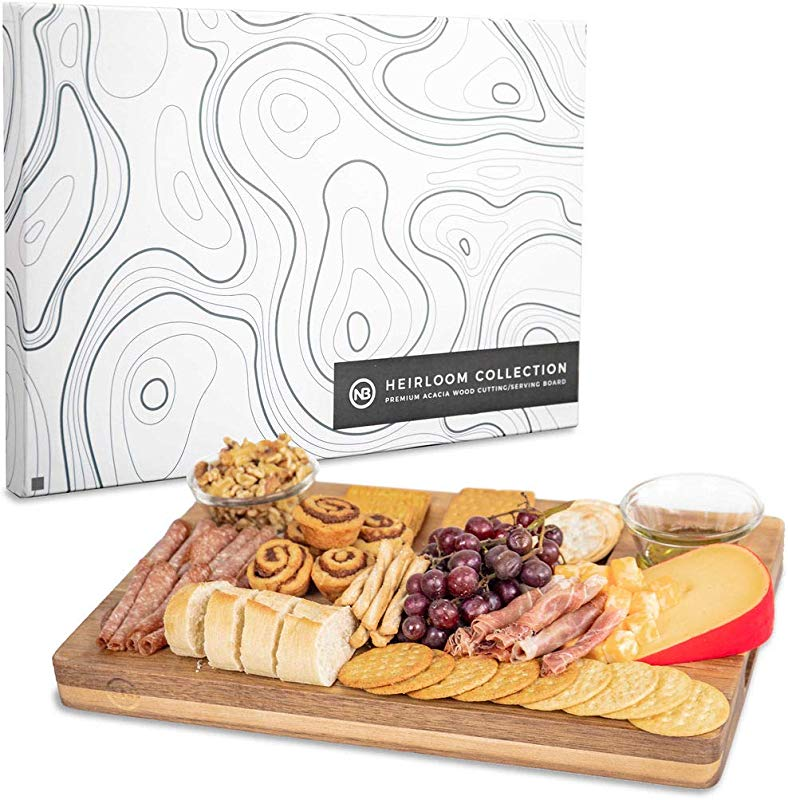 Wooden Cheese Board A Beautiful Serving Tray For Appetizers Cheese And Cracker Board Platter Complements Antipasto And Meats Reversible Premium Acacia Wood Chopping Block