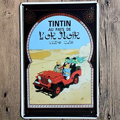 SZLGPJ France Tintin Cartoon Movie Tin Sign Metal Plate Iron Painting Kids Room Wall Bar Home Art Craft Decor 30x20cm 20x30cm 8321