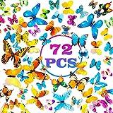 PGFUN Mariposa luminosa 72pcs Colorido Pegatina de pared 3D mural de Arte Artesania bricolaje Removible pegatinas decoracion de mariposa para la decoracion del hogar kids room decor del dormitorio