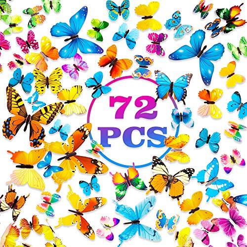 PGFUN Mariposa luminosa 72pcs Colorido Pegatina de pared 3D mural de Arte Artesania bricolaje Removible pegatinas decoracion de mariposa para la decoracion del hogar kids...