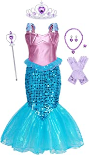 YOCOJA Little Girl Mermaid Princess Costume Sequins Party Dress Cosplay Dress