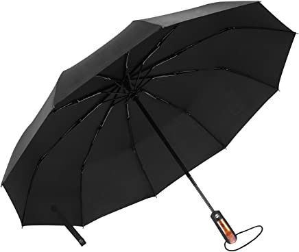65Mph Windproof Umbrella, AIZBO Automatic Extra Strong Umbrella with Reinforced 10 Ribs, Compact Fast Drying Folding Travel Umbrella, Auto Open/Close and Slip-Proof Handle for Easy Carry, Black (Black)