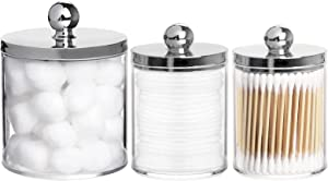 Tbestmax 10/20 Oz Cotton Ball Holder Plastic Qtip Dispenser Bathroom Containers Jar for Cotton Swab Pad (3 Pack)