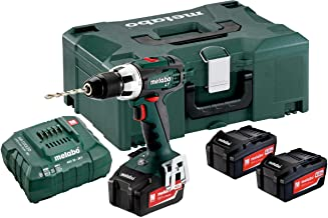 Metabo 602102960 602102960-Taladro Atornillador a bateria 18V / 3X 4,0 Ah Li-Ion BS 18 LT con maletín, 18 V, Negro, Verde