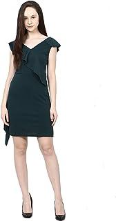 ADDYVERO Ruffle Statement Shoulder Surplice V-Neck Side Slit Sheath Dress