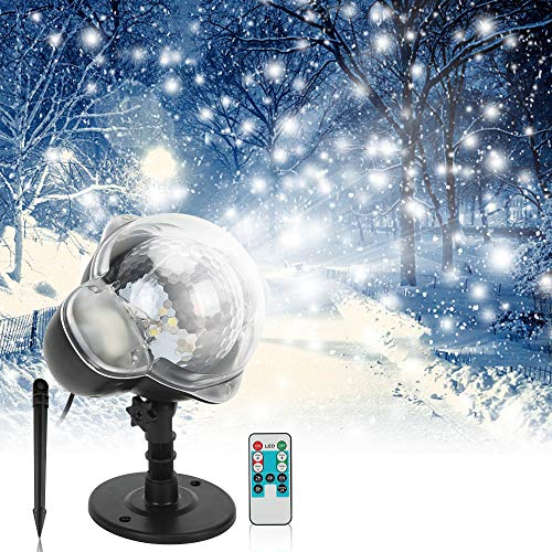 Christmas Projector Light Elec3 Outdoor Snowfall LED Projector Waterproof Rotating Snow Projection with RF Remote Snow Decorative Projector for Christmas, Halloween Party, Wedding, Garden Decoration