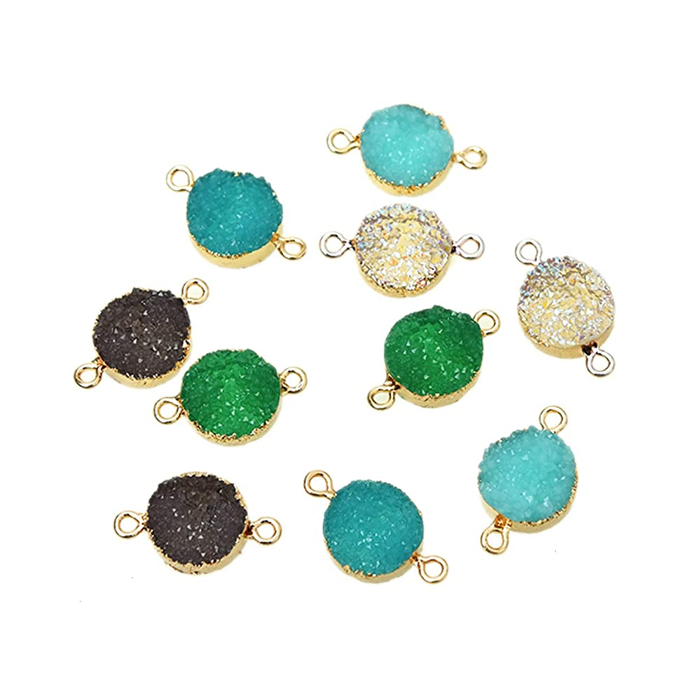 Monrocco 10Pcs Faux Druzy Quartz Charms Druzy Agate Pendents Jewelry Connector Round Resin Stone for Jewelry Bracelet Accessories