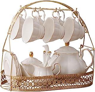 ufengke-ts 15 Pièces Service A Thé Anglais Blanc Simple,Théière,Bone China Tasse À Café,avec Cuillères Assorties en Métal,...