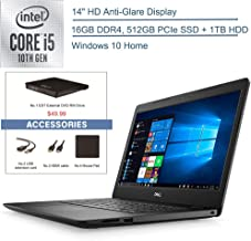 "$629 » 2020 Dell Inspiron 14"" Laptop Computer, 10th Gen Intel Quad-Core i5 1035G4 Up to 3.7GHz(Beat i7-7500u), 16GB DDR4 RAM, 512GB PCIe SSD+ 1TB HDD, AC WiFi, Windows 10, EST External DVD+ Accessories"