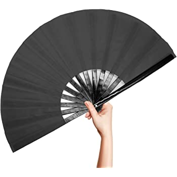 OMyTea Bamboo Large Rave Folding Hand Fan for Men / Women - Chinese Japanese Kung Fu Tai Chi Handheld Fan with Fabric Case - for Performance, Decorations, Dancing, Festival, Gift (Black)