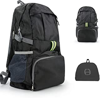 Jhua 35L Lightweight Packable Backpack, Water Resistant Travel Hiking Backpack Daypack Durable Small Backpack Handy Foldable Camping Outdoor Backpack for Men Women - Black