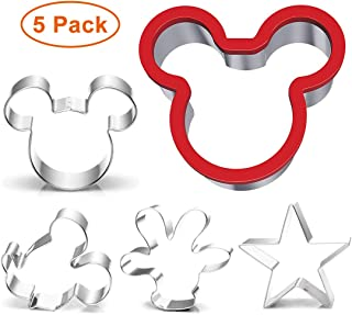 Mickey Mouse Cookie Cutters Set- Mouse Head,Ears,Side Face,Hand Shape Stainless Steel Biscuit Fondant Baking Molds for Kids Birthday Party, 5 pcs