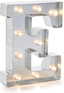 "Silver Metal Marquee Letter– E –Vintage-Style Lighted Marquee Letter with On/Off Switch, Ideal for Weddings, Special Events, and Room Décor, Galvanized Metal Finish, 9.87"" Tall"