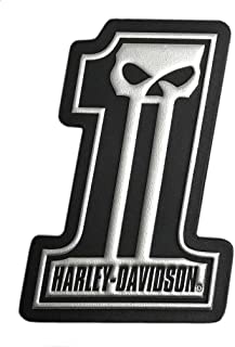 Harley-Davidson Dark Custom #1 Skull Leather & Foil Emblem Patch, 4 x 3 inches