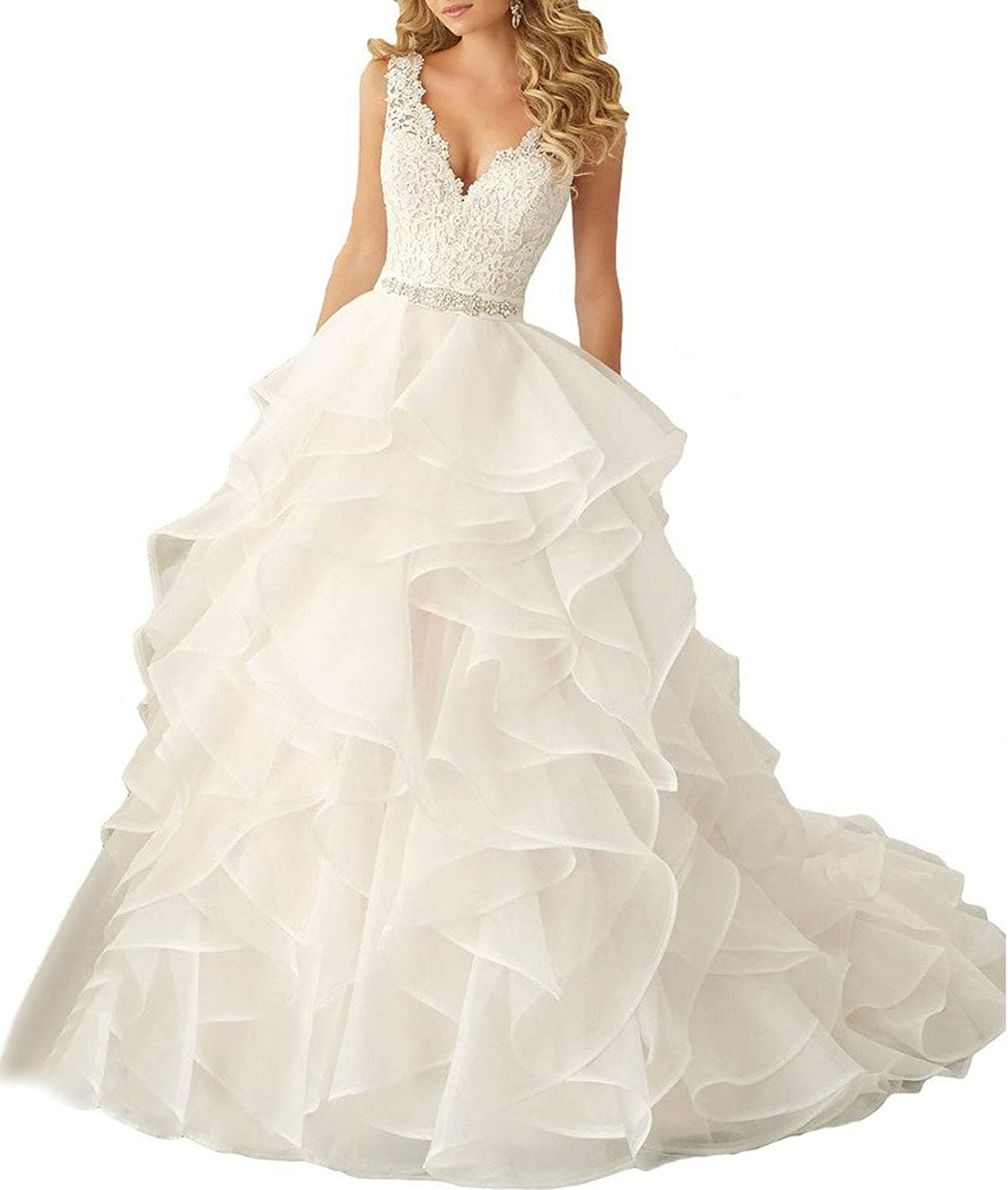 Beauty Bridal Sexy V Neck 2016 Ruffles Organza Wedding Dresses for Bride Gown