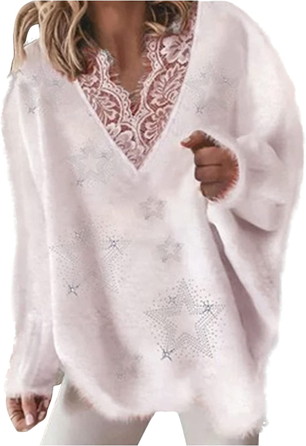 LISTHA Fashion Tops Womens Casual V-Neck Solid Blouse Long Sleeve Sweater Lace Shift Pullover Knit Sweaters