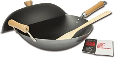 Joyce Chen J21-9972, Classic Series Carbon Steel Wok Set, 4-Piece, 14-Inch, Charcoal