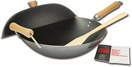 Joyce Chen J21-9972 Classic Series Carbon Steel Wok Set, 4-Piece Charcoal 14-Inch