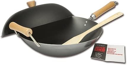 Joyce Chen J21-9972DS-1 21-9972, Classic Series Carbon Steel Wok Set, 4-Piece, 14-Inch, Charcoal