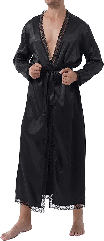 easyforever Mens Satin Long Sleeve House Kimono Robe Lightweight Silk Spa Bathrobe with Thongs Nightgown