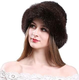 Women Winter Mink Fur Bucket Hats Roller Knitted Cap Fox Fur Brim Hat Luxurious Warm
