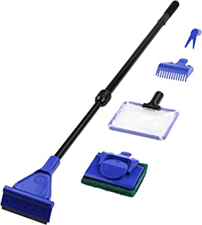 Aquaneat 5 in 1 Aquarium Cleaning Set Fish Net + Gravel Rake +Plant Fork + Scraper + Sponge