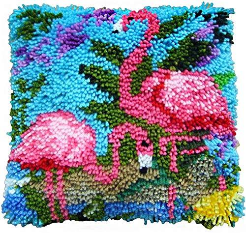 YYLPLLE Motif Animal Flamingo Latch Crochet Kit Coussin, Kits De Broderie Stéréo 3D Taie d'oreiller Point De Croix Canapé Housse De Coussin Tapis pour Enfants 43X43Cm Ybx05