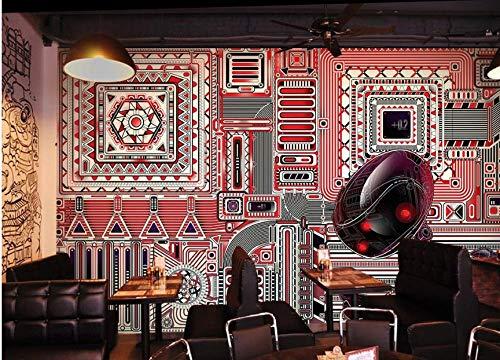 Papel pintado 3D personalizado gris negro rojo mosaico geométrico personalizado mural 3D alta resolución textura imagen - Mural de pared extraíble 99x69' 10x0.53m (393.7x20.9 pulgadas)