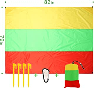 Scotamalone Beach Blanket for 3-7 Adults, 82''×79'' Oversized Beach Mat for Picnic,Travel, Camping, Hiking,Exercise,Yoga (...