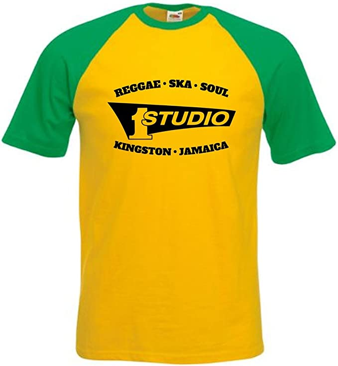 STUDIO 1 RECORDS – Camiseta con diseño Soul Reggae Ska Kingston, béisbol de Jamaica todas las tallas, pequeña – XXL.