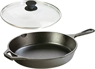 Lodge Seasoned Cast Iron Skillet with Tempered Glass Lid (10.25 Inch) - Cast Iron Frying Pan With Lid Set.