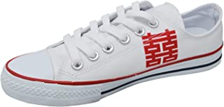 Ish Original Official Women Double Happiness Word Low Top Rubber Sole Casual Canvas Sneakers Shoes