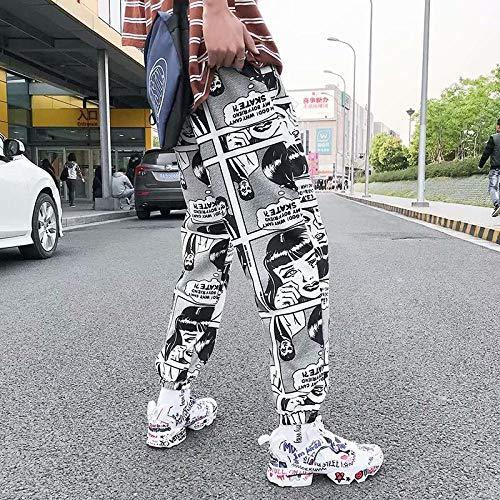 Dongwall Jogginghose SüDkoreanische Super Hot Hip Hop Hose Harajuku Streetwear Lose Sporthose Herren Damen Jogginghose 3D Comic Druckhose L173cm-70kg Anime