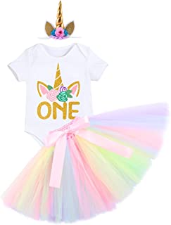 It's My 1st Birthday Cake Smash Unicorn Outfits Newborn Baby Girl Romper Tutu Dress Skirt Horn Headband 3PCS Clothes