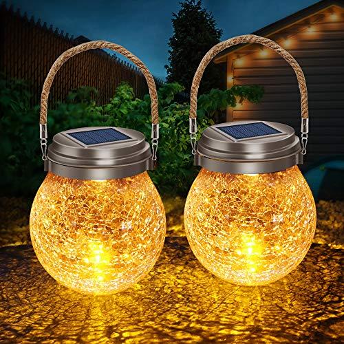 DBF Solar Lights Crackle Glass Ball, Amber Warm LED Hanging Solar Lantern Outdoor Waterproof Solar Patio Lanterns Decorative with 2 Optional Modes Solar Powered Jar Lamp for Garden Deck Yard, 2 Pack