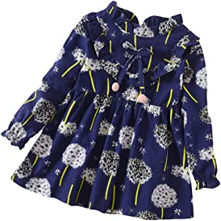 Toddler Baby Girls Long Sleeve Floral Flower Print Knee-Length Dress Outfits Clothes