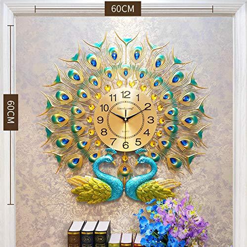 TPYFEI Pfauenuhr Wanduhr Atmosphärische Moderne Uhr Wohnzimmer Kreative Einfache Haushaltsmetall Zhejiang Provinz Quarz -20 Zoll oder mehr als Flügel fliegen [60cm * 60cm]