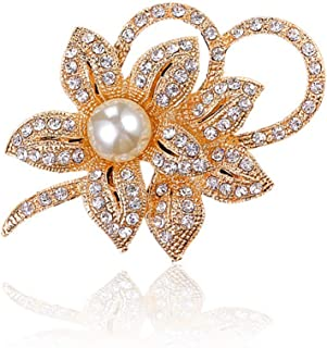 Chili Jewelry Vintage Fancy Orchid Brooch for Women Classy Flower Brooch Pin with Shiny Created Crystal