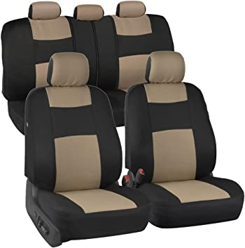 BDK PolyPro Car Seat Covers Full Set in Beige on Black – Front and Rear Split Bench Protection, Easy Install with Two-Tone Accent, Universal Fit Accessories for Auto Truck Van SUV: image