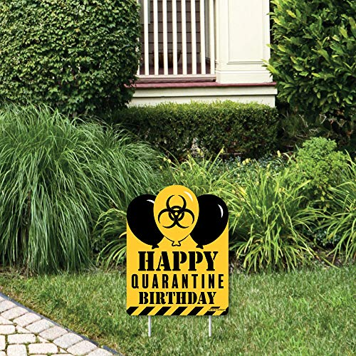 Big Dot of Happiness Happy Quarantine Birthday - Outdoor Lawn Sign - Social Distancing Party Yard Sign - 1 Piece