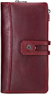 Leather Women's Wallet Fashion Tri Fold Leather Wallet First Layer Leather Casual Clutch Waterproof (Color : Red, Size : S)