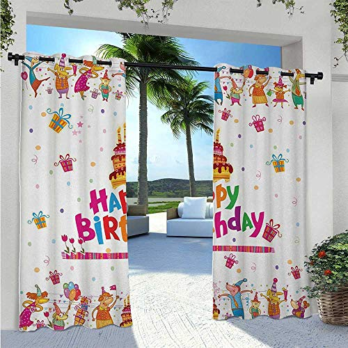 Print Curtains Joyful Mouses Partying Presents and Delicious Cake with Candles Festive Cartoon Waterproof and Light Blocking Drapes Block Light for Outdoor Movie Nights Multicolor W120 x L84 Inch